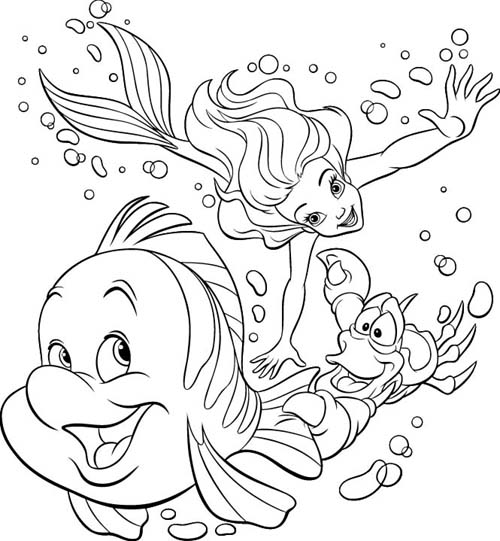 Disney Coloring Pages for Little Kids Little Mermaid