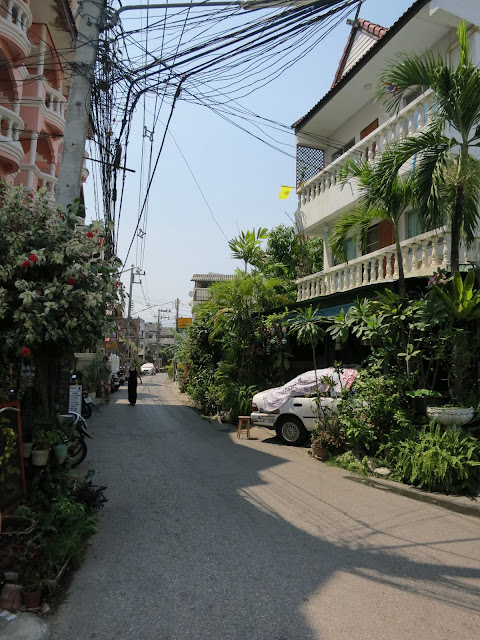 A narrow road through Chiang Mai's pleasant old city.