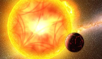ilustração de estrela e seu exoplaneta parecido com a Terra
