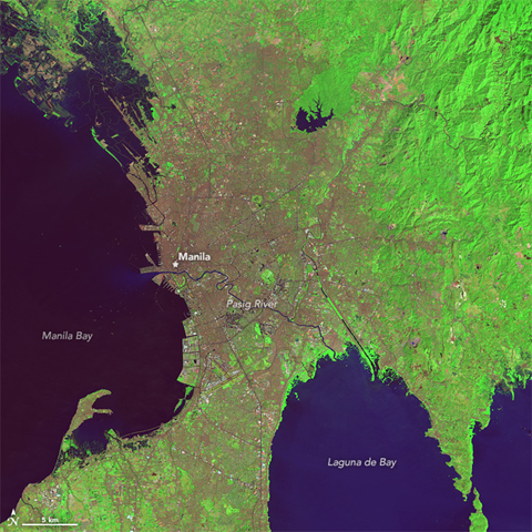 On 7 February 2014, the Thematic Mapper on Landsat 5 acquired this image of Manila. Photo: Jesse Allen / NASA Earth Observatory