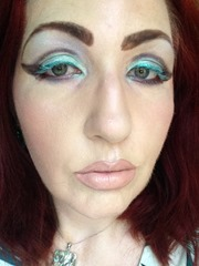 Wearing NYX Cosmetics Colored Mascara in Mint Julep