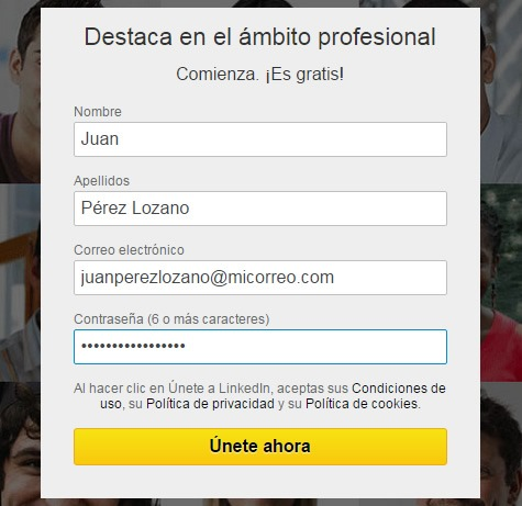 Registro de datos en LinkedIn
