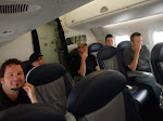 it's a gaggle of tired musicians on the back of the plane