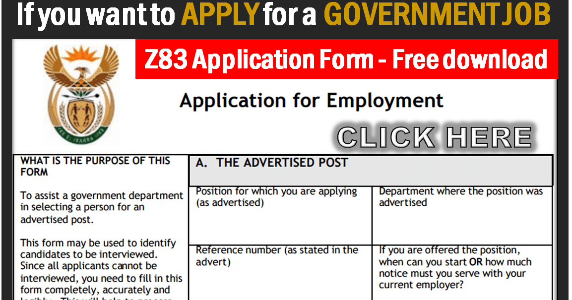 Z83 Application Form For Government Job Applications Sas Nr1