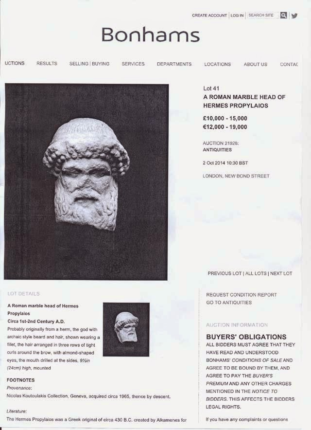 Bonhams withdraws ancient Hermes head from auction