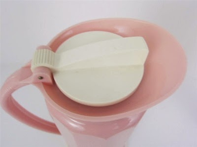 Model 1239 pink Thermos carafe with a cup tray specifically for Lily brand cup tray Thermos top