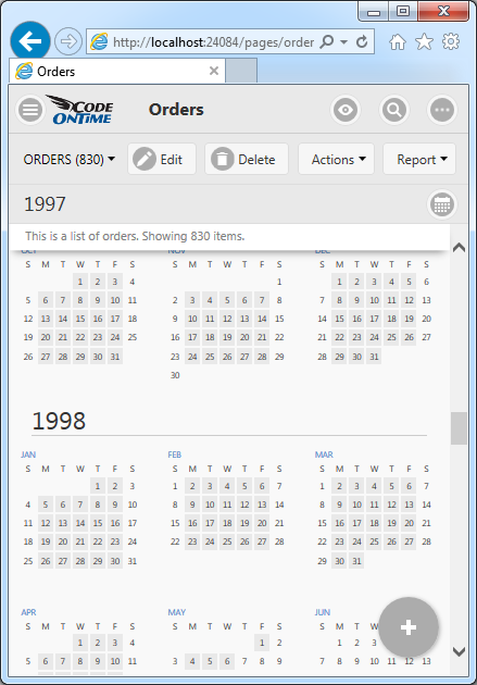 Year mode of Calendar view style in Touch UI on a small screen