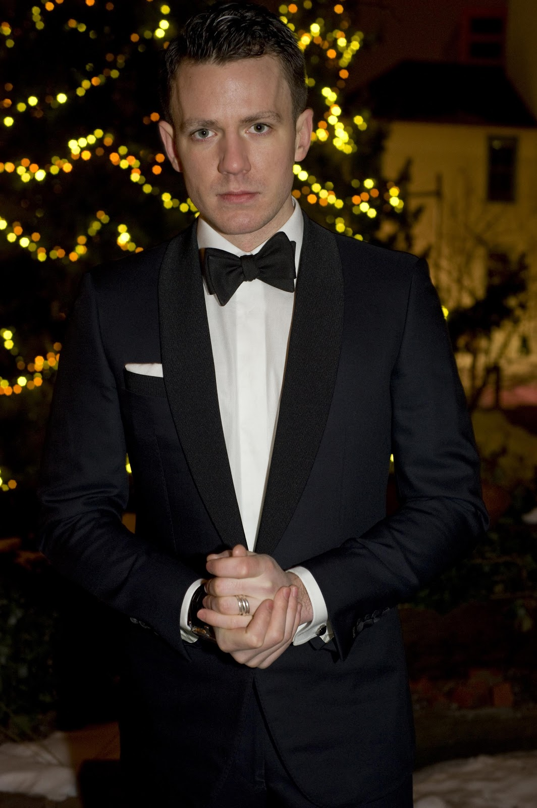 Midnight blue tuxedo, white