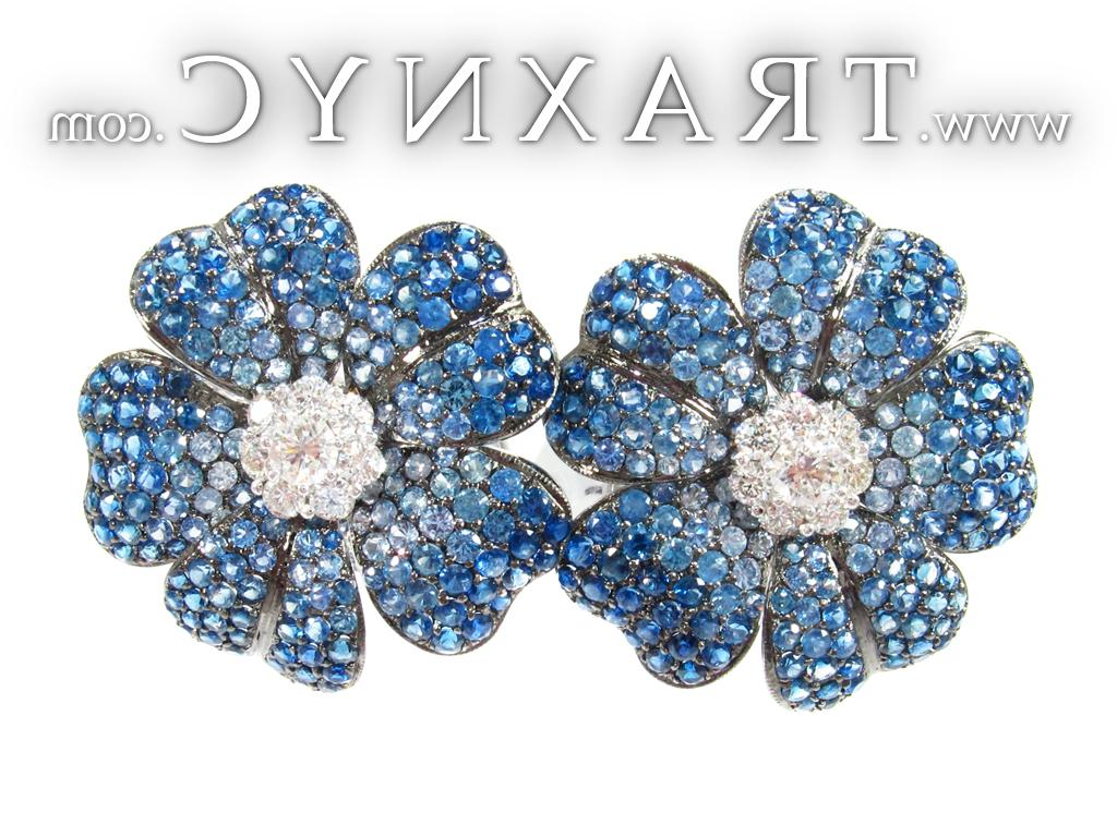 Full Size Picture for White Gold Blue Sapphire Diamond Earrings