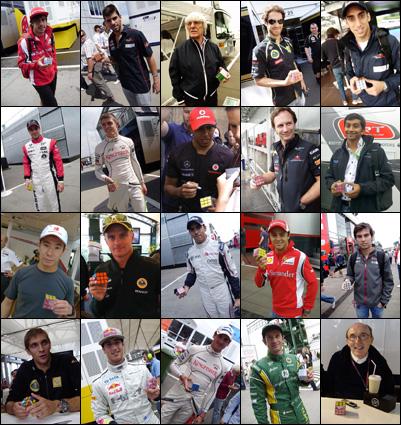 лица Формулы-1 с Кубиком Рубиком на Гран-при Венгрии 2011 на трассе Хунгароринг