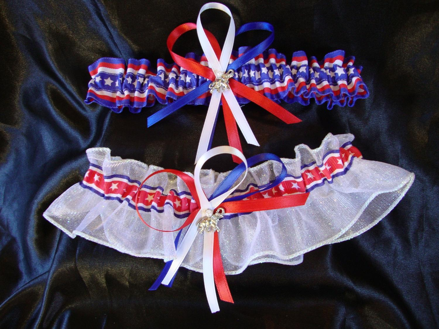 Red White and Blue Wedding Garter Set with Elephant Charms