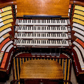 West Point Cadet Chapel Organ Control Center by Gary Hanson - Artistic Objects Musical Instruments ( seat, keys, west point, cadet chapel, pipe organ, pipes )
