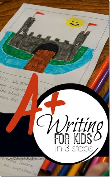 A+ Writing for Kids in 3 Steps - Great suggestions, resources, and ideas for helping elementary age kids learn to write well! Great for summer learning, teachers, and homeschooling.