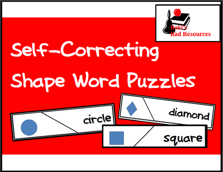 Free download - self correcting shape word puzzle that makes a great geometry center for a primary math lesson. Download from Raki's Rad Resources' Teachers Pay Teachers store.