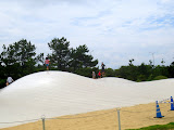 The giant curvy trampolines at Uminonakamichi Seaside Park