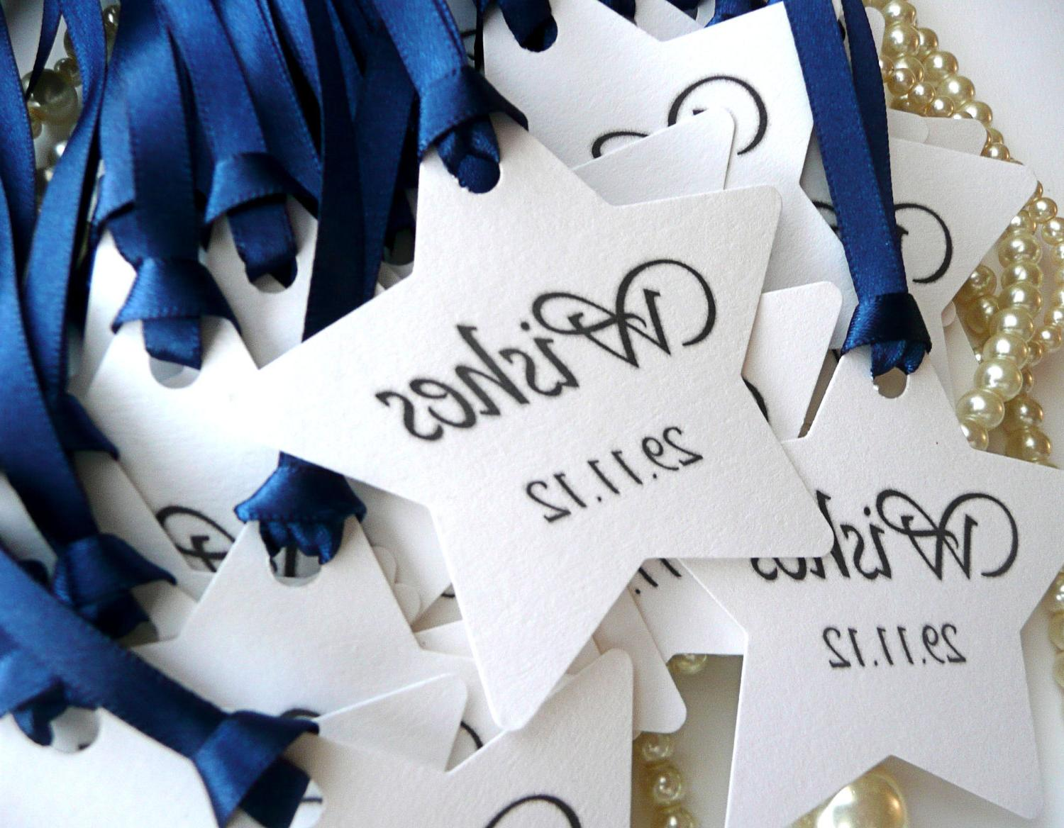 100 Wish Tree Tags or Wedding Favor Labels Navy and White - Your date