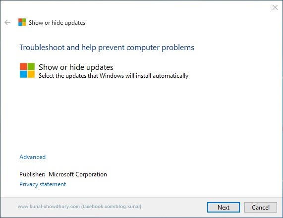 1. Show or Hide updates Troubleshooter