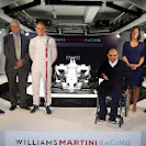 Williams Martini FW36 with Felipe Massa, Pat Symonds, Valtteri Bottas, Sir Frank Williams, Claire WIlliams and Mike O'Driscoll