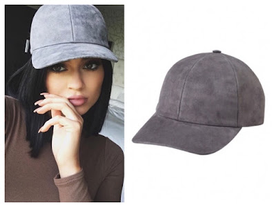 Kylie Jenner Instagram at Kendall's House wearing Vianel Charcoal Grey Suede Snapback Cap Hat