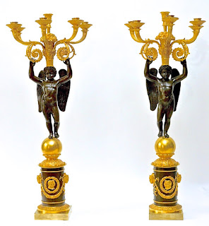 Красивая пара канделябров. 19-й век. Бронза, позолота, патина, чеканка. Высота 84 см. 9000 евро.