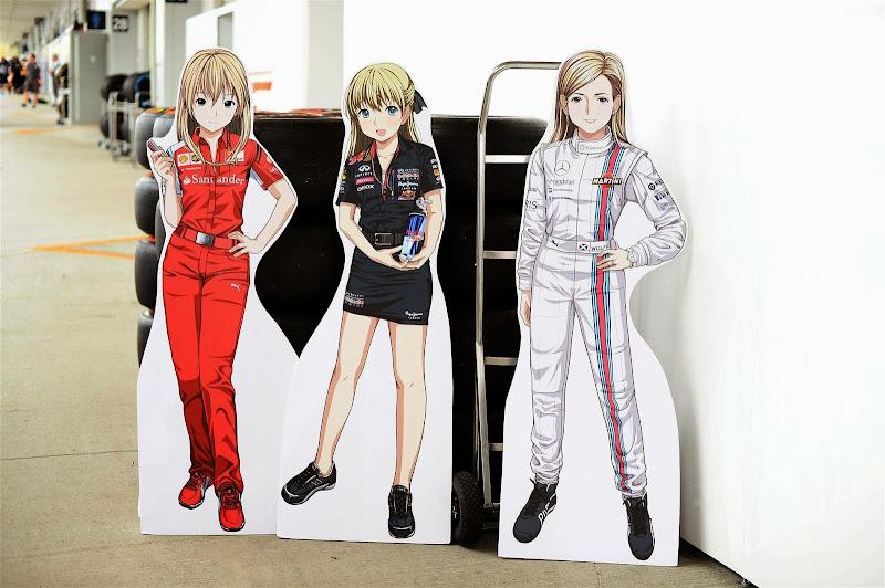 анимешные фигуры девушек Ferrari Red Bull Williams на Гран-при Японии 2014