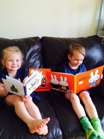 Maegan Clement (age 3) Reading Miffy at the Gallery whilst Blake Clement (age 5) reads Miffy's Birthday. Miffy Mums