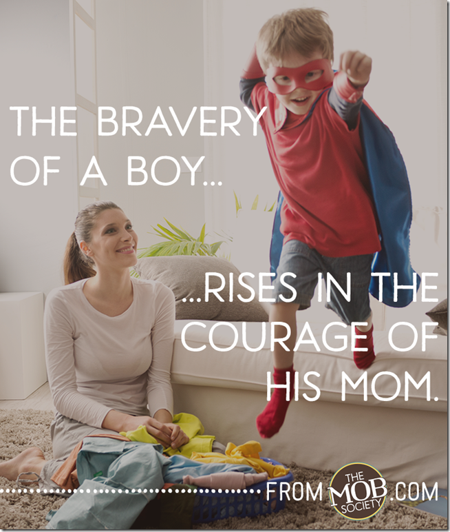 Little superhero helping his mother