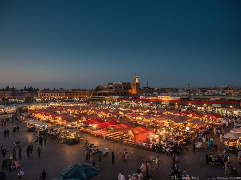Jamaa el Fna Square Marrakech from above at night
