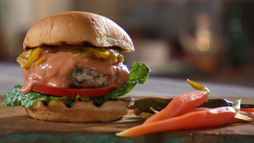 Turkey Burger with special sauce, pickled carrots and homemade beer-spring onion mustard