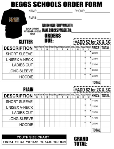 Golden Demon Football TShirt Order Forms