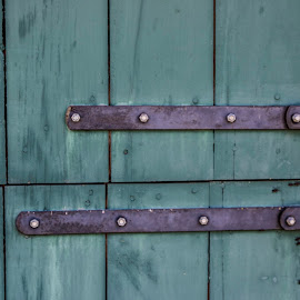Hinges by Eva Pastor - Buildings & Architecture Architectural Detail ( hinges, old door, green, door )