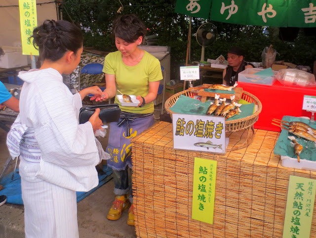 Fish on a stick, at the Nagoshi-sai festival