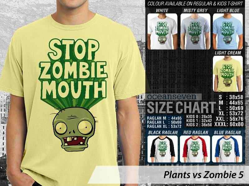 KAOS Plants VS Zombie pvz 5 Game Lucu distro ocean seven