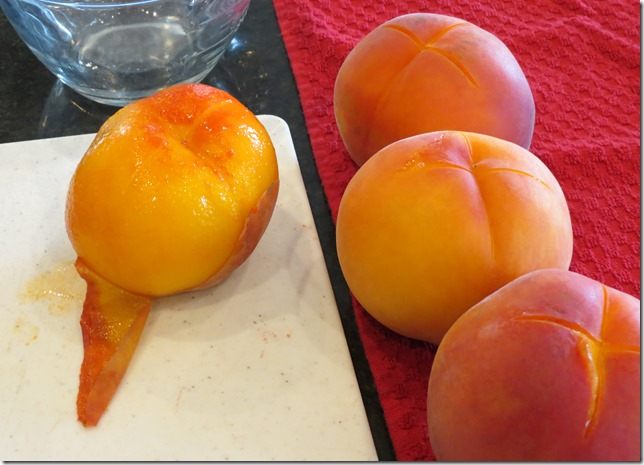 Peeling peaches