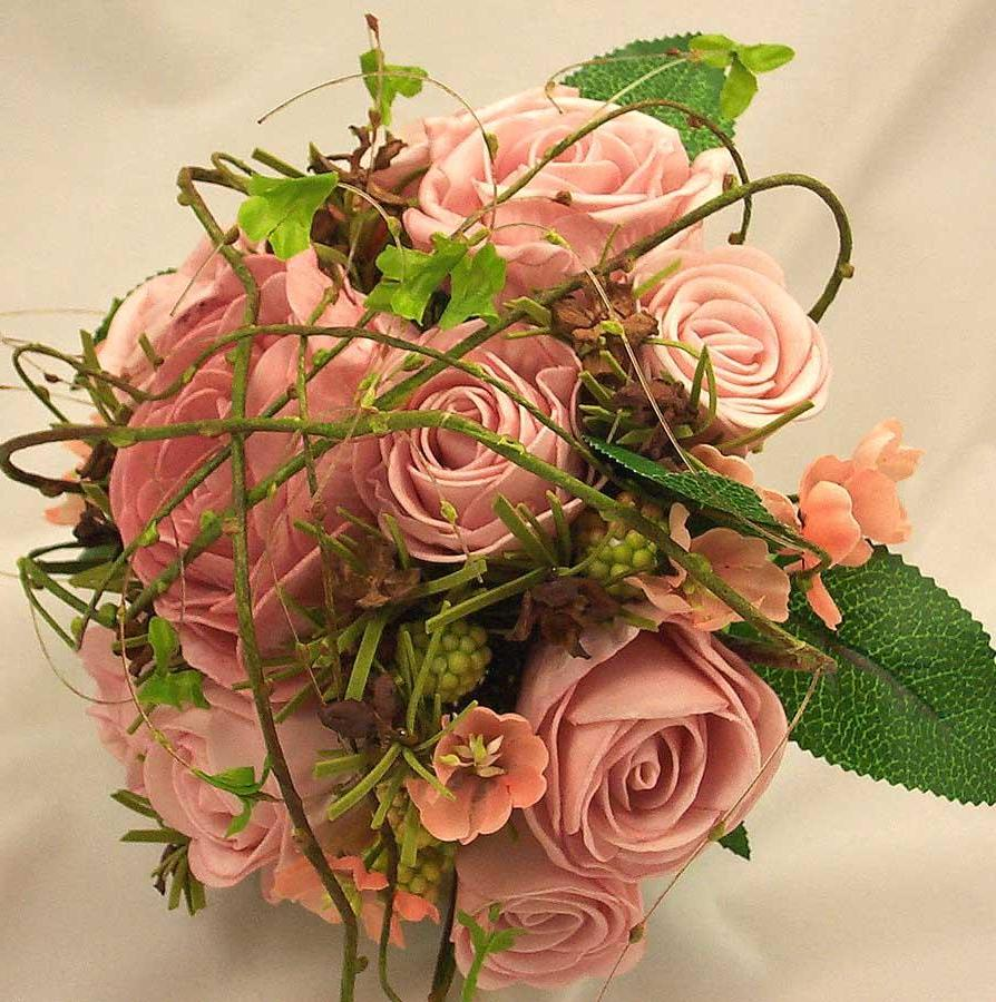 Pink Mixed Rose & Twigs Posy