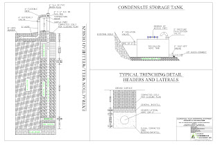 Typical design drawings for components of a landfill gas extraction system.