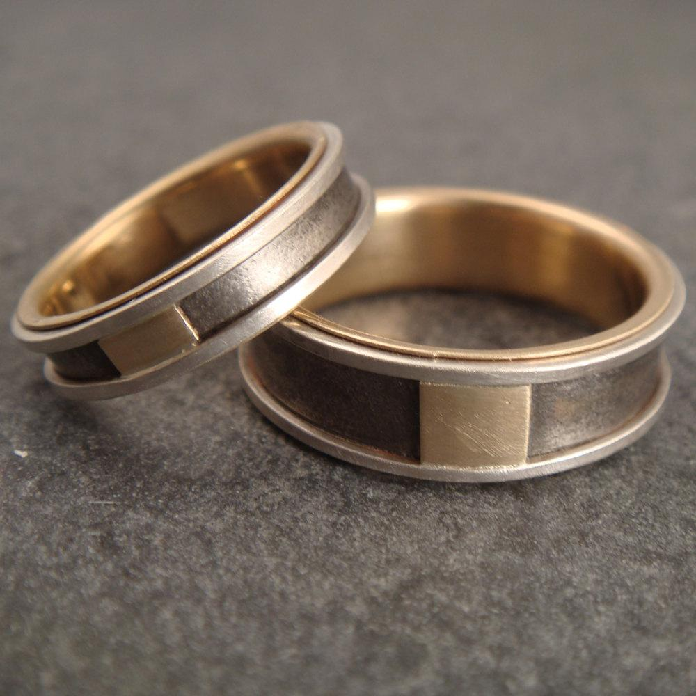 Titanium Wedding Band Set with Sterling Silver and 14k Gold
