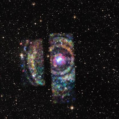 conjunto de anéis de eco de luz de raios X