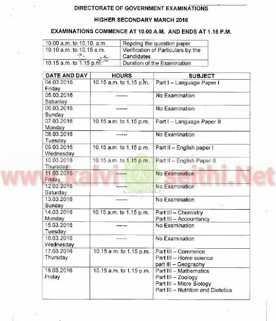 10th 12th standard public exam time table 2015 16 for 12th time table 2016