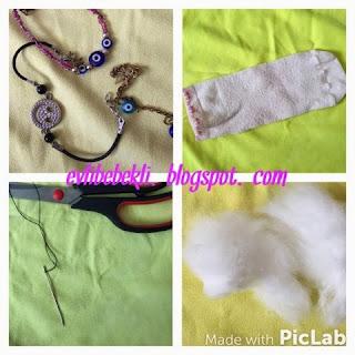 çoraptan anahtarlık yapımı