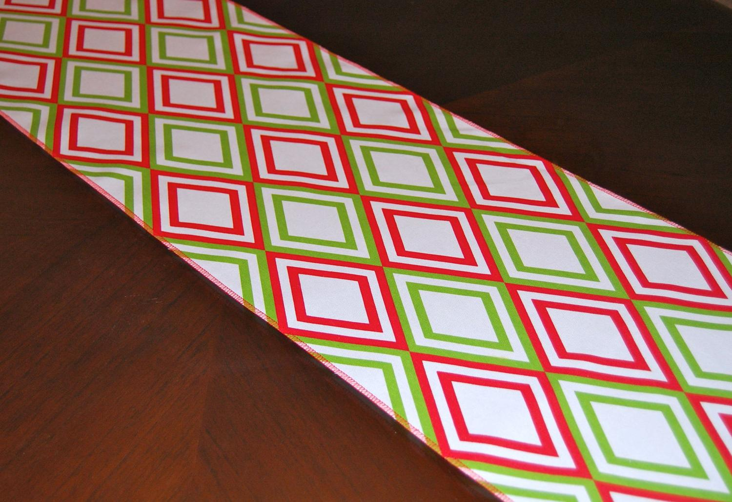 Modern red and green diamonds table runner perfect for entertaining during