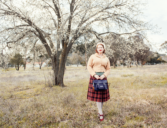 Collegiate 1940's style with a handy navy satchel | Lavender & Twill