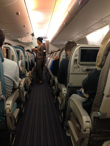 On-board Singapore Airline's flight from New York to Frankfurt