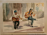 'Música en la calle' de Concha Vicent. Acuarela