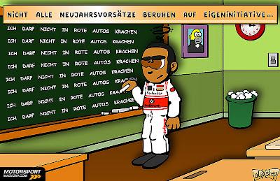 Льюис Хэмилтон пишет на доске - комикс aleXstep