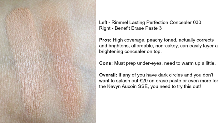 rimmel lasting perfection concealer 030 benefit erase paste 3 review swatch