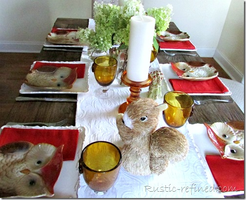 burnt orange colored tablescape for late summer