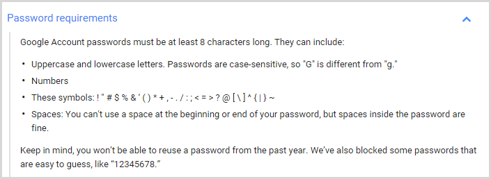 Google's password requirements - at least 8 characters
