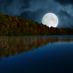 Moon Over Lake by Steve Friedman - Digital Art Places ( clouds, moon, sky, full moon, lake,  )