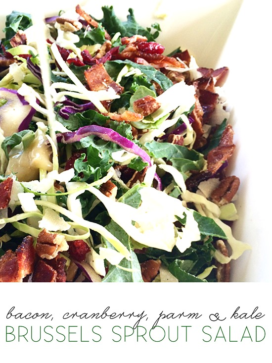 brussels sprout salad with bacon, cranberries, pecans, + fresh parm w/pear vinaigrette